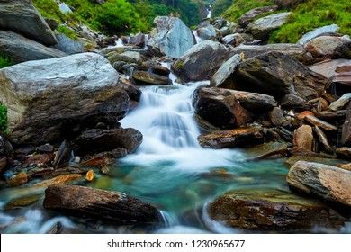 Cascade of Bhagsu waterfall in Bhagsu, Himachal Pradesh, India
