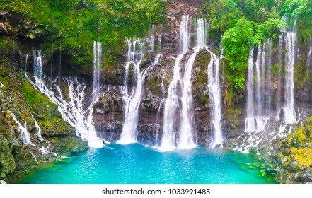 Cascade of Grand Galet in Langevin valley, La Reunion island, France