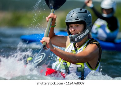 CASCADE, IDAHO/USA - JUNE 21, 2014: 183 Works paddling herself as fast as she can