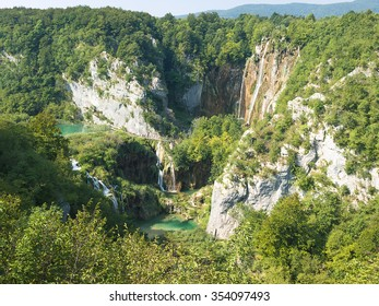 cascade and lake in Plitvice Lakes National Park Croatia