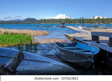Cascade lakes with Mt. Bachelor view off the dock