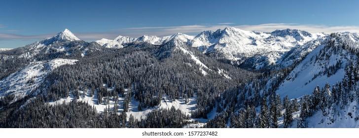 Cascade Mountain Range Panoramic View in Washington Winter