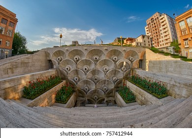 Cascade Staircase on a Hill in Erevan, the capital of Armenia
