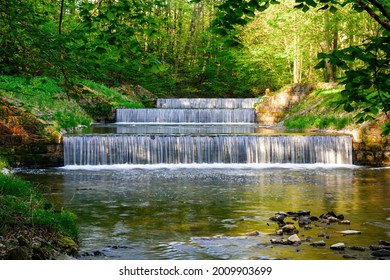 Cascade of three weirs on the river Juhyne. East Moravia. Europe. - Shutterstock ID 2009903699