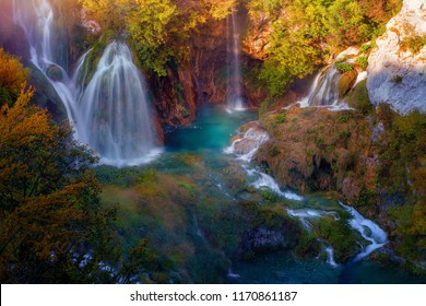 Cascade of Waterfall in Autumn Plitvice Lakes National Park