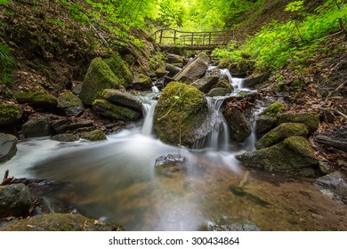 Cascade waterfall in forest, Hesslacher Waterfalls, Stuttgart, Germany