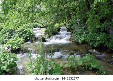 Cascade waterfalls in Plitvice Lakes National Park (Nacionalni park Plitvicka jezera). Karlovac County, Croatia.