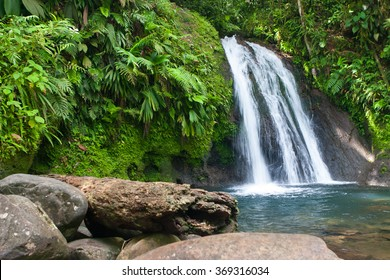 Cascades aux Ecrevisses,beautiful waterfall in a rainforest. Guadeloupe, Caribbean Islands, France