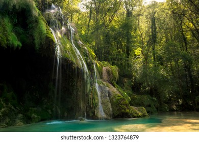 The Cascades des Tufs, a beatiful series of waterfalls in the French Jura. Its waters have a beautiful turquoise colour.