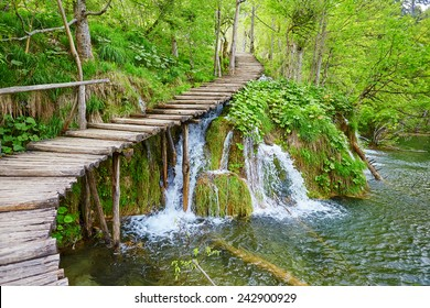 Cascades near the tourist path in Plitvice lakes national park