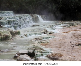 Cascades of thermal hydrogen sulfide springs in Saturnia, Italy, Tuscany