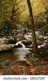 cascading creek in fall