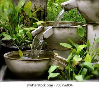 A cascading garden water feature