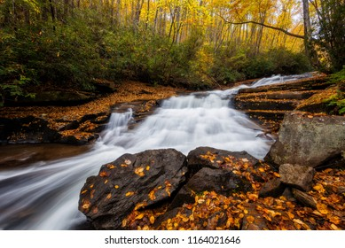 Cascading water and autumn colors, North Carolina