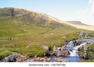 Cascading water in Glen Coe, Scotland
