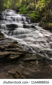 The cascading water of Minnehaha Falls, Rabun County, Georgia