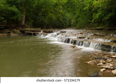 Cascading waterfall on a creek in Lee's Summit Missouri which is a suburb of Kansas City, Missouri