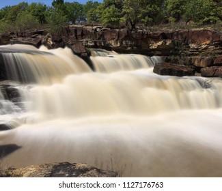 Cascading waterfall and rocks in Oklahoma