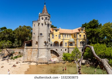 CASCAIS – August 14, 2019: Detail of the Tower of Sao Sebastiao situated by a little cove on the Atlantic coastline in the town of Cascais, Portugal,