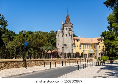 CASCAIS – August 14, 2019: The Tower of Sao Sebastiao is one of the most imposing villas in the summer town of Cascais, Portugal, and house of the Museum and Library of the Count of Castro Guimaraes