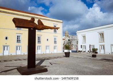 Cascais, Lisbon district, Portugal - May 28th, 2018 : Iron sculpture by Rogerio Timoteo at the Cidadela Art District inside the Citadel of Cascais.