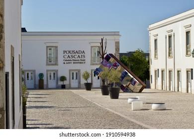Cascais, Lisbon, Portugal - July 15 2020: Atlantic Ocean coast line, architecture and landscapes
