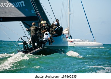 Cascais, Portugal - April 27, 2014:  RC44 CASCAIS CUP. International competition in class yachts RC44. On the photo: Peninsula Petroleum