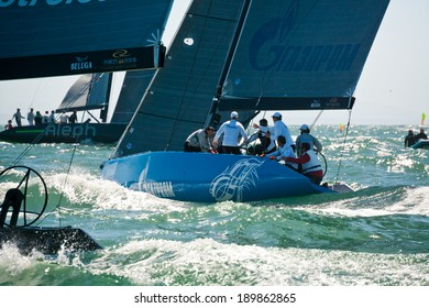 Cascais, Portugal - April 27, 2014:  RC44 CASCAIS CUP. International competition in class yachts RC44. On the photo: BRONENOSEC SAILING TEAM