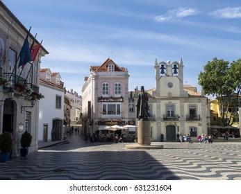 CASCAIS, PORTUGAL - APRIL 27: A view of Cascais city center square - Cascais, Portugal in 2017