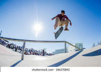 CASCAIS, PORTUGAL - APRIL 6 2014: Pedro Roseiro during the 4th Stage of the DC Skate Challenge by Fuel TV.