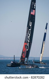 CASCAIS, PORTUGAL - AUGUST 14- America's Cup AC World Series - Fleet Race - Oracle Racing Coutts in Cascais, Portugal, August 14, 2011