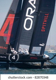 CASCAIS, PORTUGAL - AUGUST 14- America's Cup AC World Series - Fleet Race - Oracle Racing Spithill in Cascais, Portugal, August 14, 2011