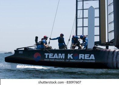 CASCAIS, PORTUGAL - AUGUST 14:America's Cup AC World Series - Fleet Race - Team Korea - Sail Korea Yacht Club  in Cascais, Portugal, August 14, 2011