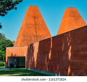 Cascais, Portugal - August 21, 2018: Casa das Historias Paula Rego Museum - Architect Eduardo Souto de Moura in Cascais, Portugal