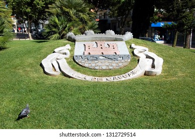 CASCAIS, PORTUGAL - JULY 10, 2011 - Stone coat of arms of Cascais, Portugal