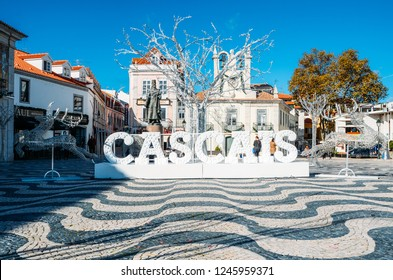 Cascais, Portugal - Nov 30, 2018: Main Square of Cascais Town Hall decorated with Christmas decorations