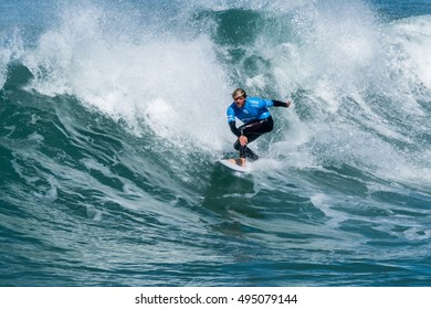 CASCAIS, PORTUGAL - SEPTEMBER 28, 2016: Santiago Muniz (ARG) during the 2016 Billabong Pro Cascais at Guincho's Beach - Cascais, Portugal.