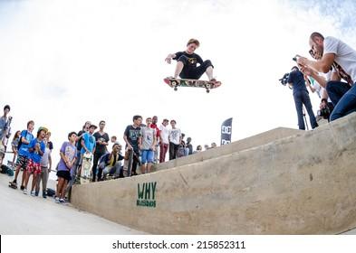 CASCAIS, PORTUGAL - SEPTEMBER 6 2014: Tristan Funkhauser at the international skate demo DC Initials Tour.