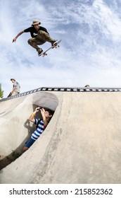 CASCAIS, PORTUGAL - SEPTEMBER 6 2014: Josef Scott at the international skate demo DC Initials Tour.