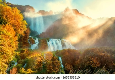 Cascata delle Marmore or Marmore Falls is a man-made waterfall created by the ancient Romans,  located near Terni in Umbria region, Italy.