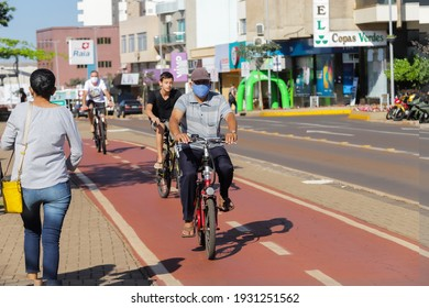 Cascavel, Paraná, Brazil - September 24, 2020 - Cyclists ride their bicycles on the bike path in the city of Cascavel.