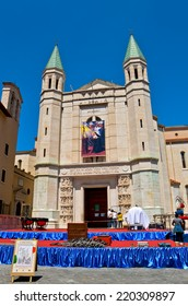 CASCIA, ITALY - MAY 14 2011: The Basilica of Saint Rita during the preparations for Concert Band of the Carabinieri Corps.