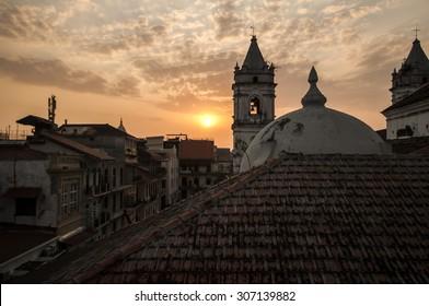 Casco Veijo, Panama City, at sunset