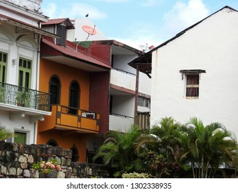 Casco Viejo / Panama - November 9 2018: Old houses in Casco Viejo in Panam City