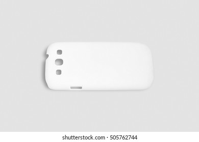 The case for Chinese smartphone with holes for buttons and camera. Flat on gray background. lank plastic protection phone for your design.
