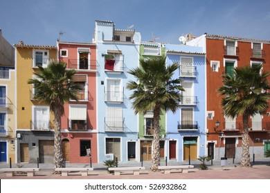 Case colorate e palme a Villajoyosa/Coloured houses in Villajoyosa