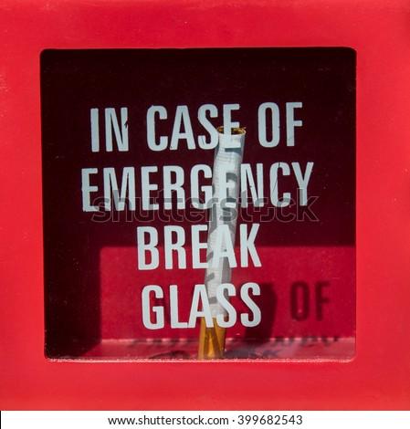Case emergency break glass get cigarette stock photo edit now in case of emergency break glass and get cigarette maxwellsz