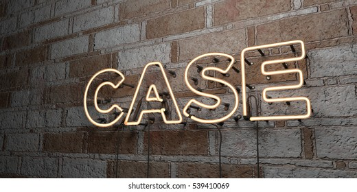 CASE - Glowing Neon Sign on stonework wall - 3D rendered royalty free stock illustration.  Can be used for online banner ads and direct mailers.