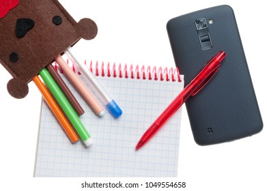 case for pens and phone in the form of a bear on white