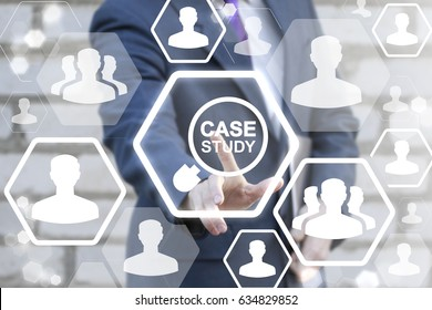 Case Study Services Education Business Concept. Man touched icon magnifier case study on virtual screen. Studies internet information technology.